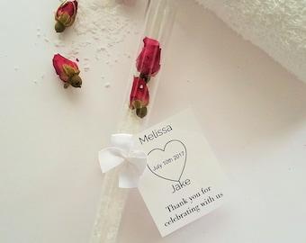 Bath Salt test tubes, Bridal Shower Favors, Petal Bath, Rose Bath Salts,gifts, Rose petal bath, Gifts for her, wedding favor