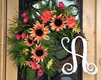 Summer Wreath, Summer Monogram Wreath, Sunflower Wreath, Mothers Day Wreath