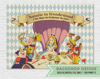 Alice In Wonderland Birthday Party Backdrop // Mad Hat Tea Party Backdrop