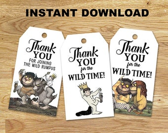 Where the Wild Things Are  Favor Tags // DIGITAL Only // INSTANT DOWNLOAD
