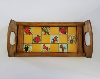 Wooden mosaic tiled, animal themed, tray from Costa Rica
