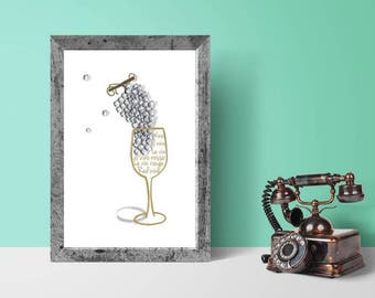 Wine Print, Wine Poster, Wine Lover, Wine Art, White Wine, Kitchen Decor, Housewarming Gift, Home Decor, Vino Bianco, Vin Rouge, Modern