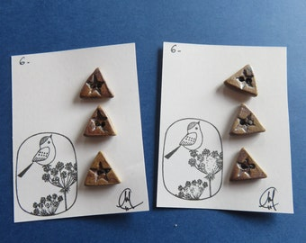 Triangular Shape Ceramic Buttons - Handmade - Craftwork - Pottery