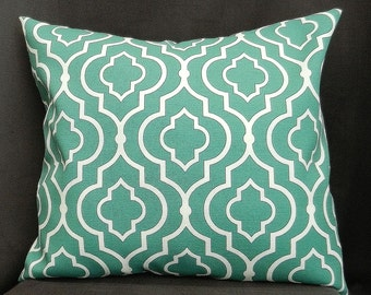 Pillow Cover 18x18, Teal and White