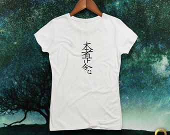 Reiki Hon Sha Ze Sho Nen Distance / Distant Healing Symbol Fitted Tee / Tshirt / Top for Ladies, Handmade and Unique