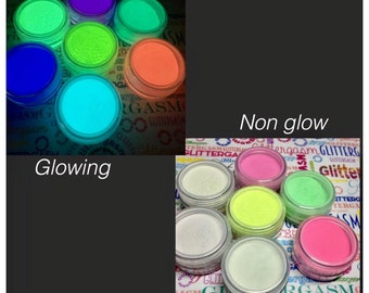 Glow Pigment Set - glow in the dark nail powder - 5g each color