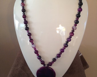 Beautiful OOAK Purple Banded Agate Necklace