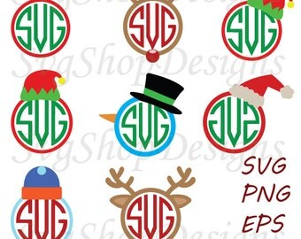 Christmas Monograms svg Circle Monogram Frames Eps Svg Dxf Png  Cut Files for Cricut Design, Silhouette studio, Digital download