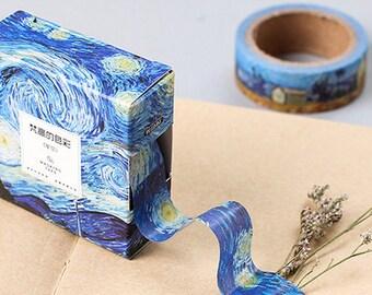 Beautiful Van Gogh Inspired Starry Ski Washi Tape,Masking Tape,Planner Sticker,15mm*10m