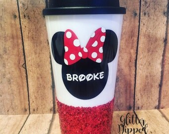 Minnie Mouse//16oz Plastic Travel Tumbler Mug//Double Wall//Screw Lid//Glitter Dipped//Glitter Cup