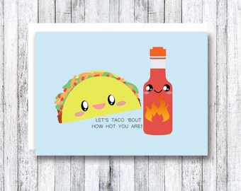 Funny greeting cards, pun cards, taco bout love, taco, punny gifts, food pun, cute taco card, food greeting cards, kawaii cards, punny
