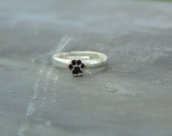 Small Animal Paw Print Ring