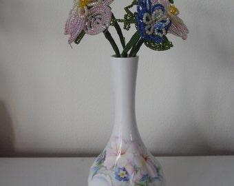 French Beaded Flower Vase