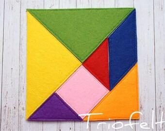 Felt tangram, busy bag, Montessori game, Felt Puzzle