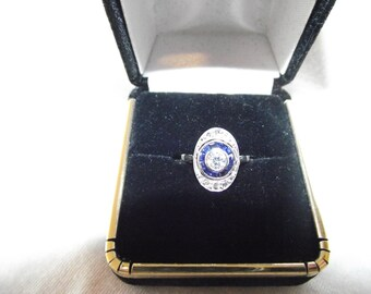 Beautiful Oval Art Deco Cluster Ring