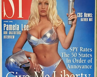 Vintage Spy Magazine June 1996 Pamela Anderson Cover Give Me Liberty Presidential Election Bill Clinton