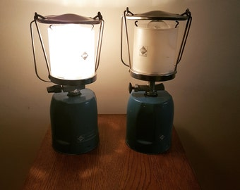 Unique Upcycled Camping Lantern Lamps, Electric Lanterns -