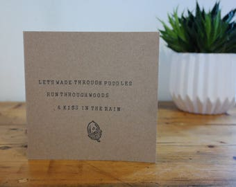Kiss in the rain- Greeting card. Hand-stamped, recycled kraft card, with acorn design.
