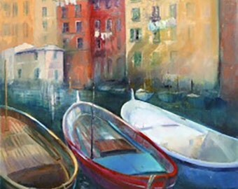 Camogli Fishing Boats, GICLEE Art Print, Modern, Contemporary Painting, Italy, Oil, Multi-Coloured, Bright, Wall Art Decor