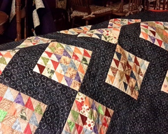 Handsome homemade twin quilt/ throw