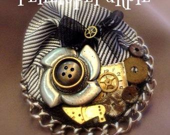 Steampunk brooch/hair clip