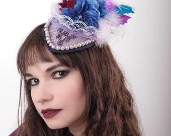 Victorian gothic hat fascinator/purple hat