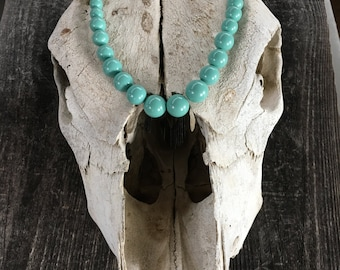 Graduated Teal Swarovski Pearl Necklace