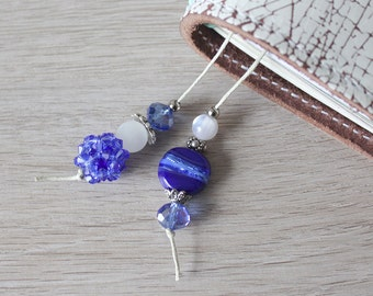 Blue Mood - Bookmark for your Travelers Notebook with Swarovski Elements