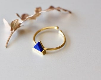 Gold Ring, Lapiz Lazuli Marble Ring/Toe Ring, Gold Dipped Rings, Ring, Geometric Jewellery, Gypsy Ring, Gift For Her, Bohochic (SR10)