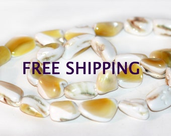 Lustrous Mother Of Pearl Nugget Bead Yellow and White  13mm - 18mm Strand of 27 FREE SHIPPING