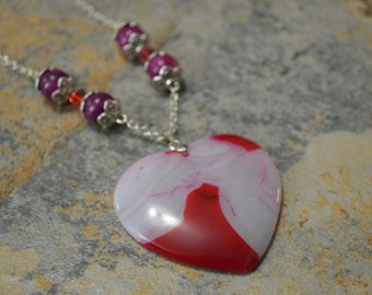 Large Red/White/Pink/Purple Banded AGATE Heart Pendant, Pink Purple Fire Agates, Red CRYSTAL Bi-cones, SP Chain 20 in *Free Ship U.S. Only*