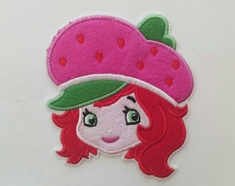 Strawberry Shortcake iron on inspired patch, Strawberry Shortcake embroidery patch inspired