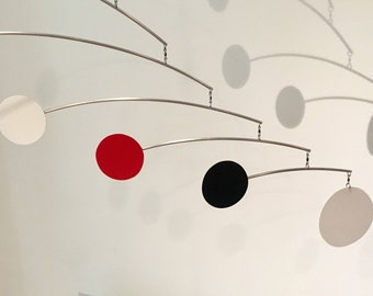 MOBILE Kinetic, Mid-Century Modern Mobile,  Hanging Mobile Art Sculpture, Aluminum Mobile - LotsDOTS