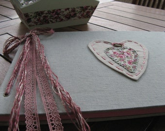 Linen Fabric Guestbook With Embroidered Hard Cover/Shabby Heart Applique Photo Album/Baptism Guestbook/Baby Shower Book