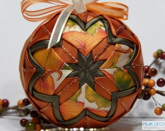 "Hand-Crafted Quilted Ornament - 4"" Autumn Orange"