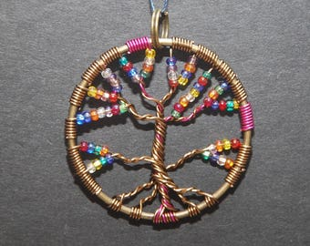 Assorted Beads Tree of Life Pendant