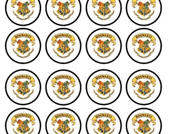Harry Potter Hogwarts Crest Edible Wafer Rice Paper Cake Cupcake Toppers x 24