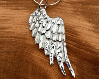 Large Silver Angel Wing pendant, Silver Angel Wing Necklace, Hallmarked, Statement Angel wing, Angel wing, Silver wings, Statement jewellery