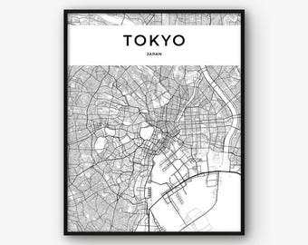 Tokyo Map Print, Tokyo Print, Tokyo Poster, Tokyo Wall Art, Tokyo City Map Poster, Japan Print, Japan Map, Tokyo Decor, Map of Tokyo