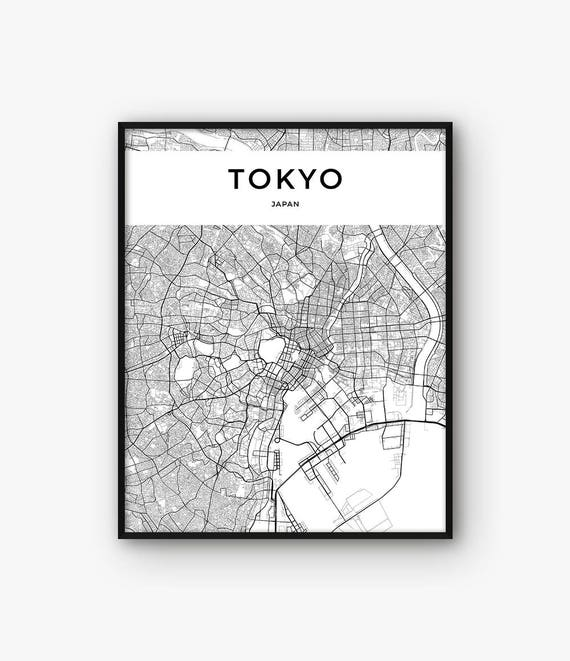 Tokyo Map Print Tokyo Print Tokyo Poster Tokyo Wall Art - Japan map black and white