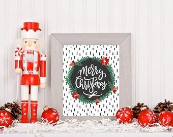 Merry Christmas Wreath Digital Download   Printable   8x10