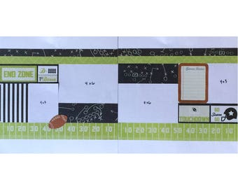 12x12 Scrapbook Page Layout Kit, Precut Scrapbooking Page Kit, Scrapbook Kit, Football Themed Page Kit