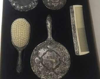 Vintage 5piece Silver Plated Hair Set