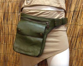 Fanny Pack hip shoulder Hip Bag bag of travel bag of skin leather / color green / strap adjustable / made by hand / Unisex