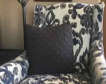 Midnight Gray Knit Pillow