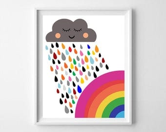 Rainbow, colorful rainbow, rainbow wall decor, cloud, Scandinavian nursery, rainbow printable, rain, rain printable kids nursery,nursery art