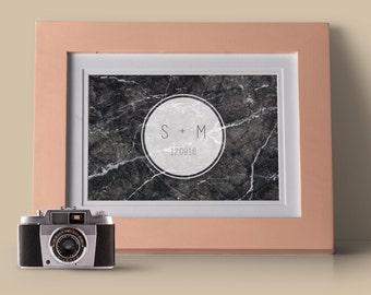 Custom Wedding Initial Marble Print