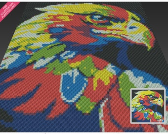 Chromatic Eagle crochet blanket pattern; c2c, cross stitch; knitting; graph; pdf download; no written counts or row-by-row instructions