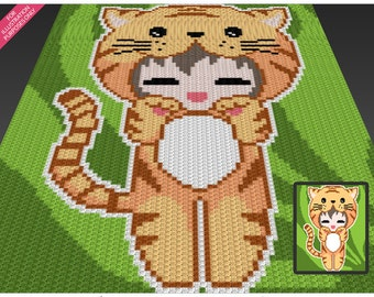 Tiger Girl crochet blanket pattern; c2c, cross stitch; knitting; graph; pdf download; no written counts or row-by-row instructions
