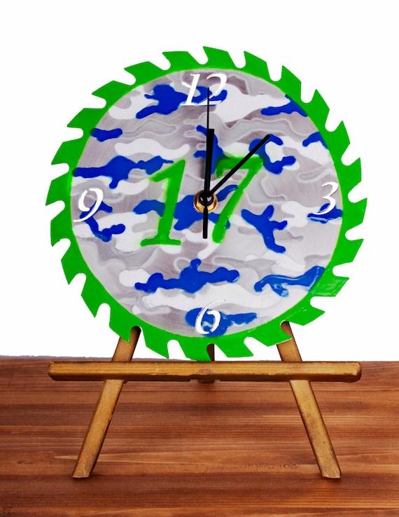 Custom Sports Team Camouflage Saw Blade Wall Clock